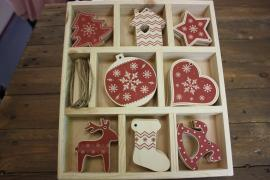 A large set of wooden Christmas ornaments on 32 toys
