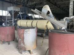 Drying line for sand and other bulk materials, heat carrier