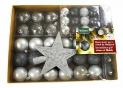 Set of Christmas balls, universal, silver-mother of pearl